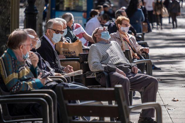 Pensionistas el pasado 13 de octubre de 2020, en