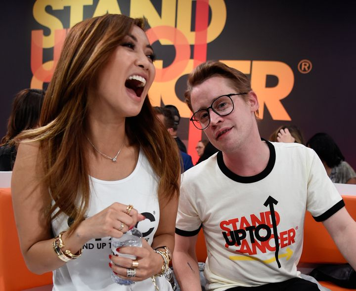 Brenda Song and Macaulay Culkin at a Stand Up To Cancer telecast in 2018. The couple, who started dating after meeting on a f