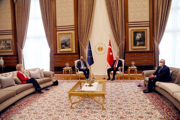 ANKARA, April 6, 2021 -- Turkish President Recep Tayyip Erdogan 2nd R meets with European Council President...
