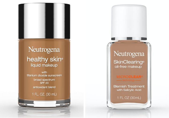 "Left to right: <strong><a href=""https://amzn.to/3ah5npD"" target=""_blank"" rel=""noopener noreferrer"">Neutrogena Healthy Skin Liquid Makeup,&nbsp;$11.29</a>;</strong>&nbsp;<strong><a href=""https://amzn.to/3gdnZuh"" target=""_blank"" rel=""noopener noreferrer"">Neutrogena SkinClearing Oil-Free Makeup,&nbsp;$10.59</a></strong>"