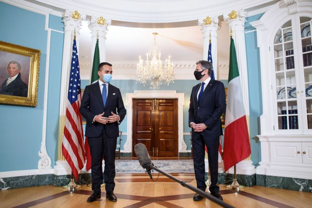 US Secretary of State Antony Blinken (R) speaks ahead of a bilateral meeting with Italy's Foreign Minister...