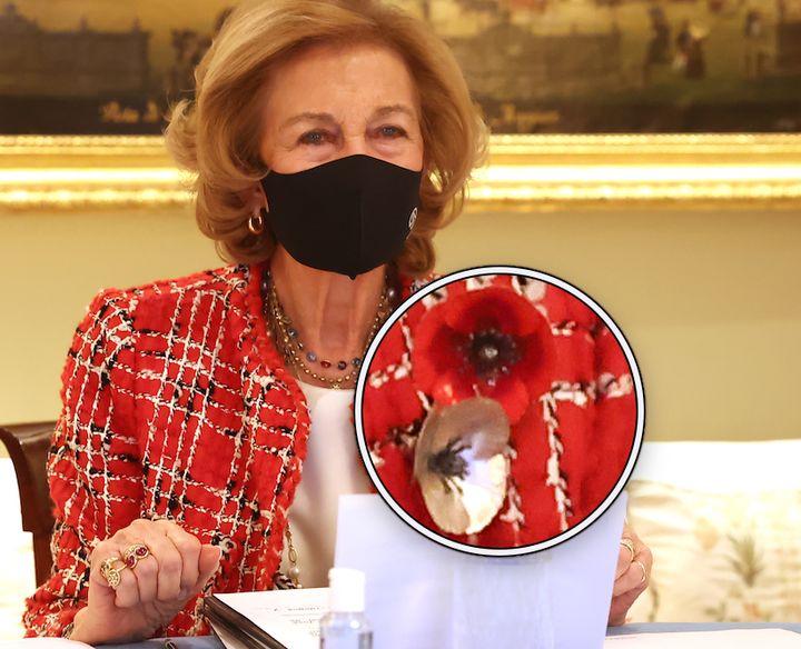 Los broches de la reina Sofía en homenaje a Felipe de Edimburgo.