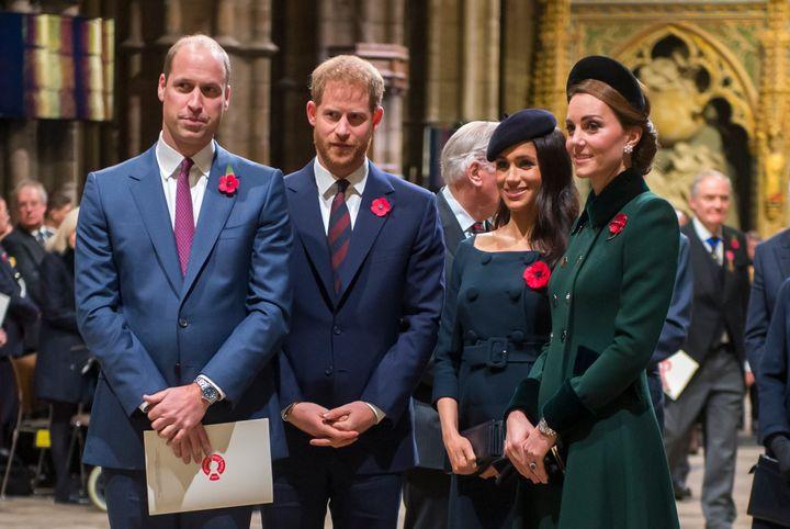 Los duques de Cambridge (Guillermo y Kate) y los duques de Sussex (Harry y Meghan) en el Día del recuerdo de 2018.