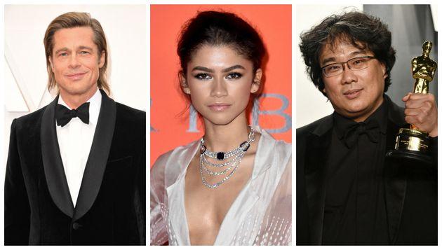 De gauche à droite : l'acteur Brad Pitt, l'actrice Zendaya, le réalisateur sud-coréen Bong