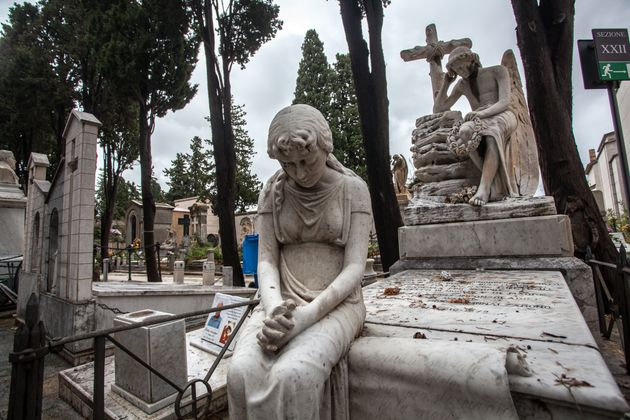PALERMO, ITALY - 2015/11/01: Cappuccini Cemetery in Palermo has an impressive amount of statues and sculptures,...