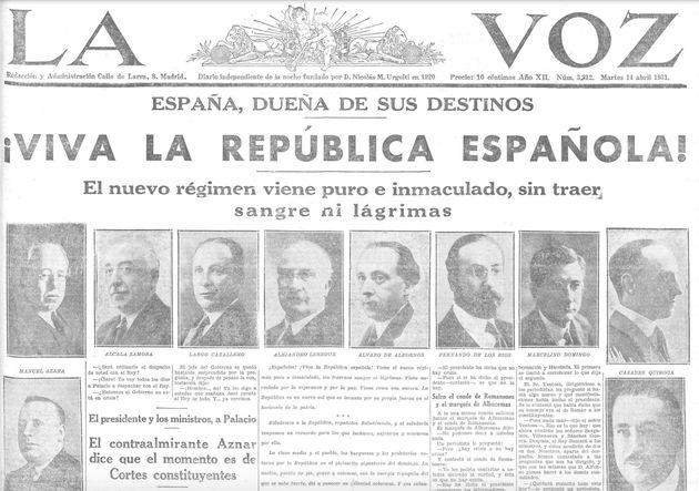 Portada del diario La Voz del 14 de abril de