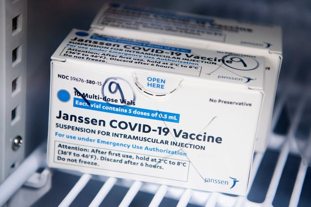 UNITED STATES - APRIL 12: A box of Johnson & Johnson's Janssen COVID-19 vaccine doses are pictured at...