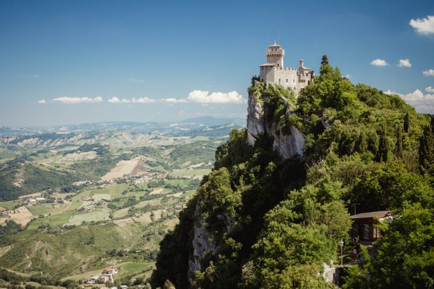 Castle of San Marino on the hill. Republic of San Marino is an enclaved microstate surrounded by Italy,...