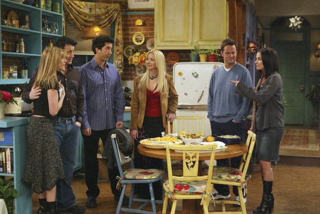 The cast of Friends in the penultimate episode The One With Rachel's Going Away