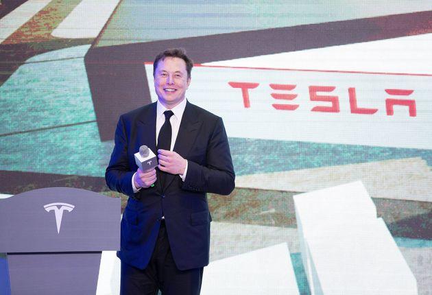 07/01/2020 Shanghai. Elon Musk, CEO di Tesla, interviene alla cerimonia di consegna del modello di auto...