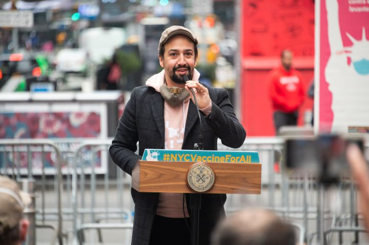 Lin-Manuel Miranda speaks during the opening of a vaccination center for Broadway workers in New York.