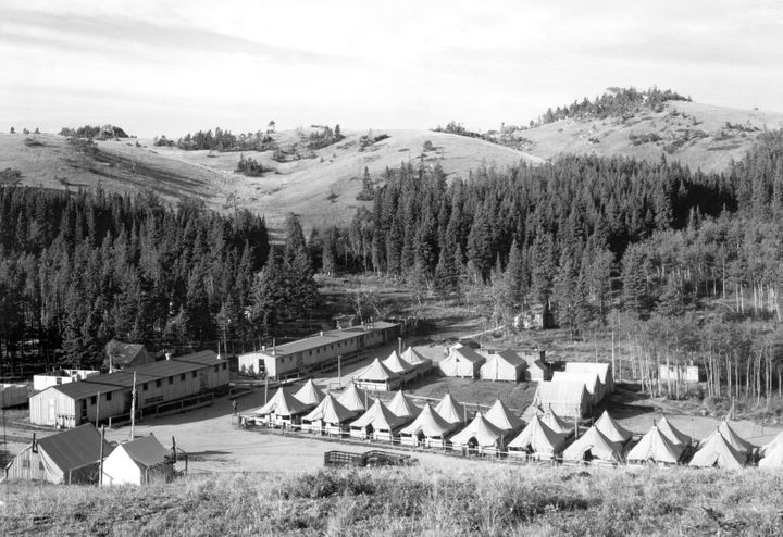 A view of the Civilian Conservation Corps' Tongue Camp in Wyoming's Bighorn National Forest in August 1939.