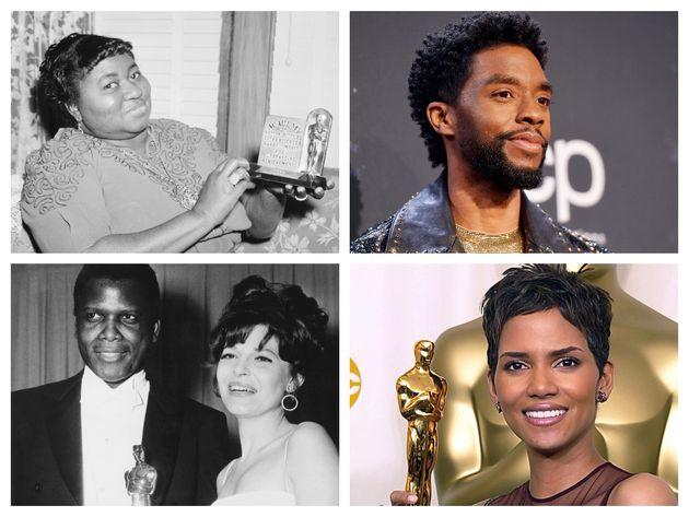 (左上から時計回りに)、『風と共に去りぬ』で1940年アカデミー賞助演女優賞を獲得したハティ・マクダニエル、『マ・レイニーのブラックボトム』で2021年アカデミー賞主演男優賞にノミネートされている故チャドウィック・ボーズマン、『チョコレート』で2002年アカデミー賞主演女優賞を受賞したハル・ベリー、『野のユリ』で1964年アカデミー賞主演男優賞を受賞したシドニー・ポワチエ(左)