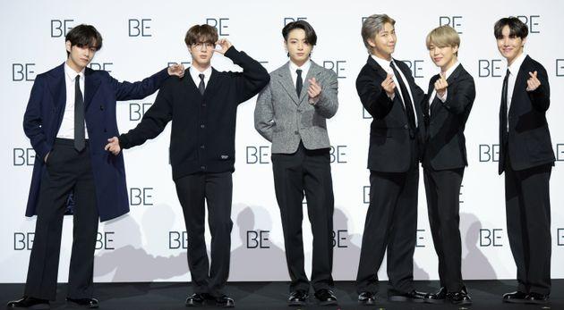 Le groupe BTS lors de la conférence de presse pour la sortie du nouvel album