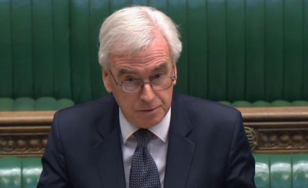 Former Shadow Chancellor John McDonnell speaking in the House of Commons in Westminster,