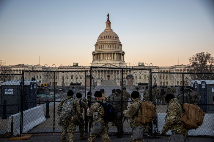 WASHINGTON, DC - FEBRUARY 08: The US Capital is seen as  National Guard secure the the grounds on February 08, 2021 in Washin
