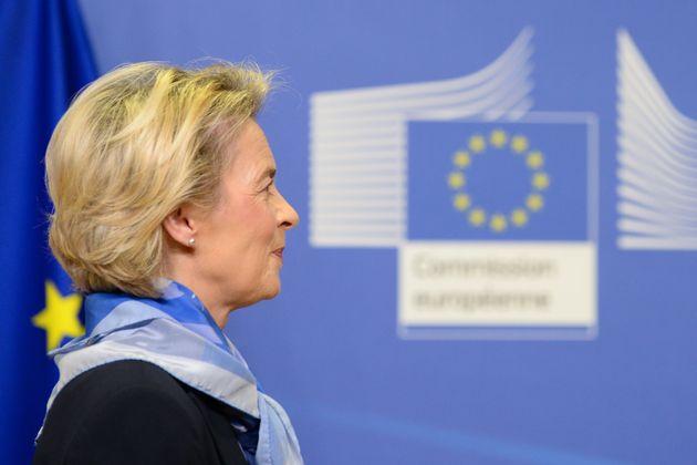 European Commission President Ursula von der Leyen arrives to give a press statement after the European...