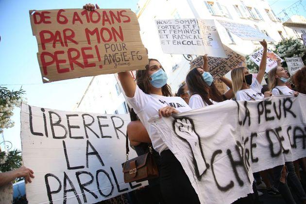 Manifestation à l'appel du mouvement #IwasCorsica contre la violence et les agressions sexuelles envers...