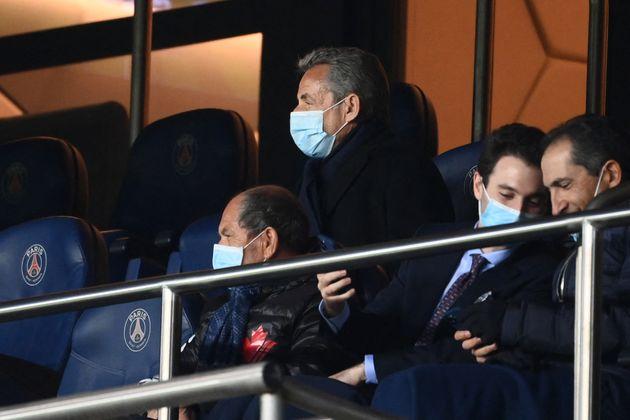 Nicolas Sarkozy au match retour de la Ligue des Champions PSG - Bayern, le 13 avril 2021 au Parc des