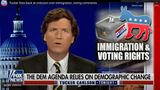 "Tucker Carlson defends the white nationalist ""great replacement"" conspiracy theory on Fox News."
