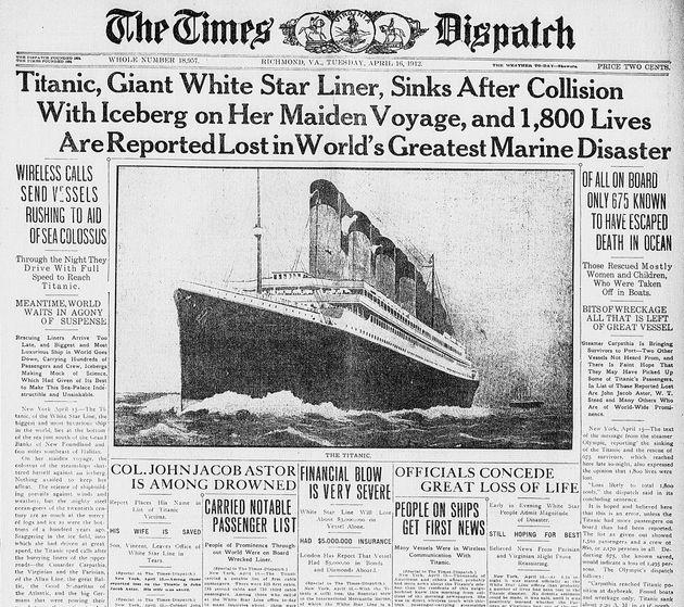 タイタニック沈没を伝える記事。1912年4月16日付「The Times Dispatch newspaper