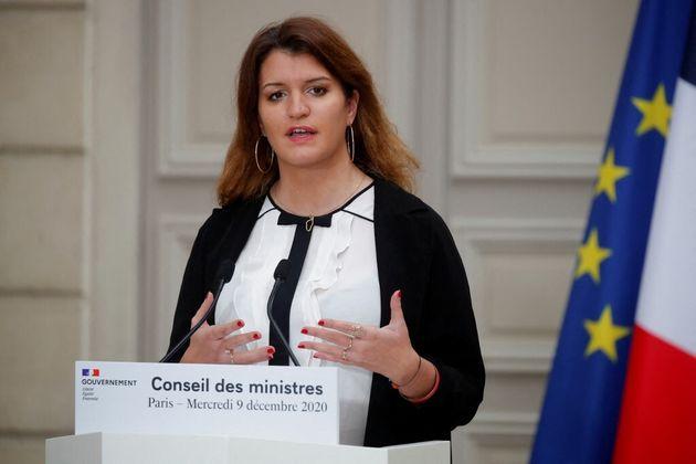 Marlene Schiappa, en conférence de presse après un Conseil des ministres le 9 décembre