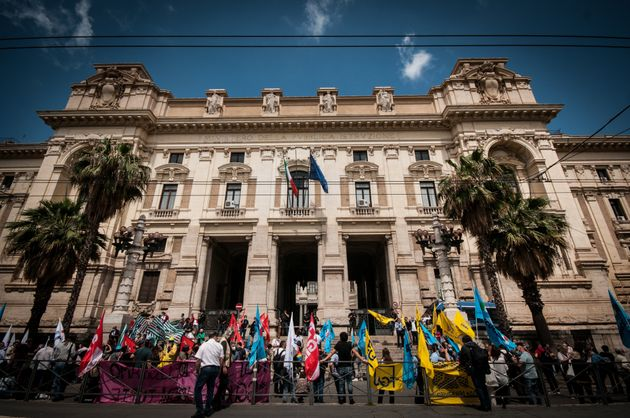 Members of major teachers' trade unions stage a demonstration in front of the Ministry of Education on...