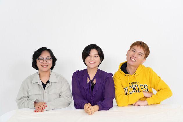 큐플래닛의 새 꼭지 '아찔한 무지개'를 진행하는 손희정 문화평론가(맨 왼쪽), 은하선 칼럼니스트(가운데), 신필규 활동가의