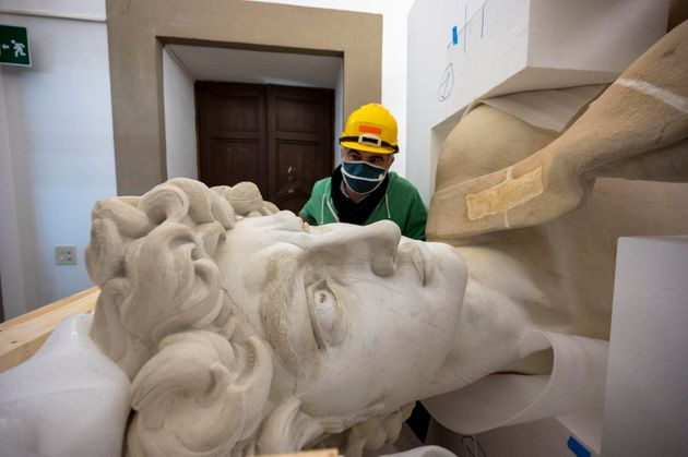 The digital twin of Michelangelo's David realized in a laboratory located in the historic center of Florence,...