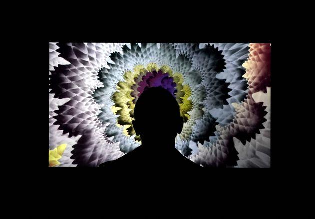 Une personne regardant l'oeuvre de l'artiste Hoxxoh lors de l'ouverture de Superchief Gallery NFT, une...
