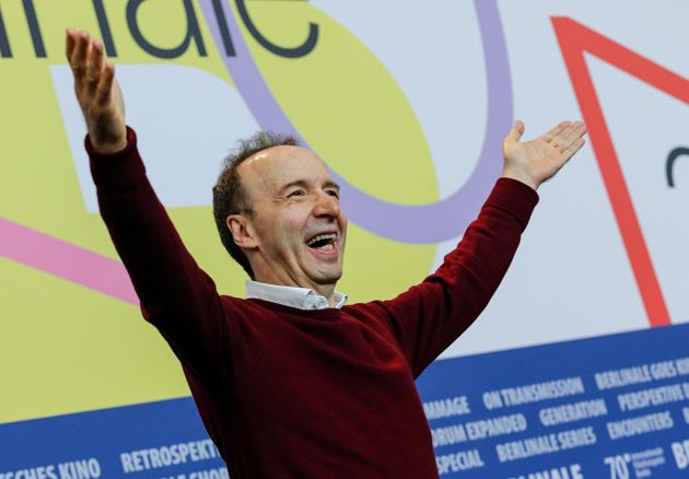 "Actor Roberto Benigni attends ""Pinocchio"" press conference during 70th Berlinale International..."