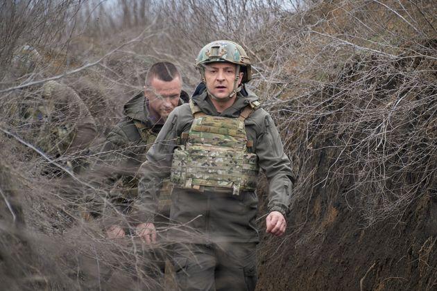 Ο πρόεδρος Ζελένσκι στα χαρακώματα