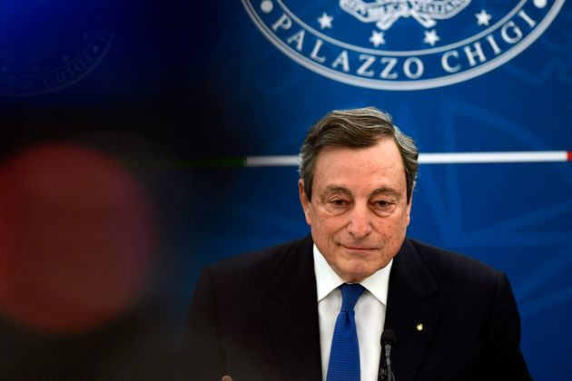 The Italian premier Mario Draghi during a press conference. Rome (Italy), April 8th 2021 (Photo by Pool...