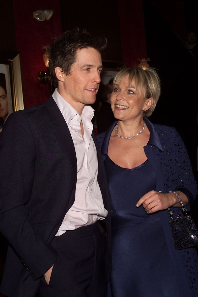 Actor Hugh Grant with Helen Fielding at the Bridget Jones's Diary film premiere in New York City in 2001