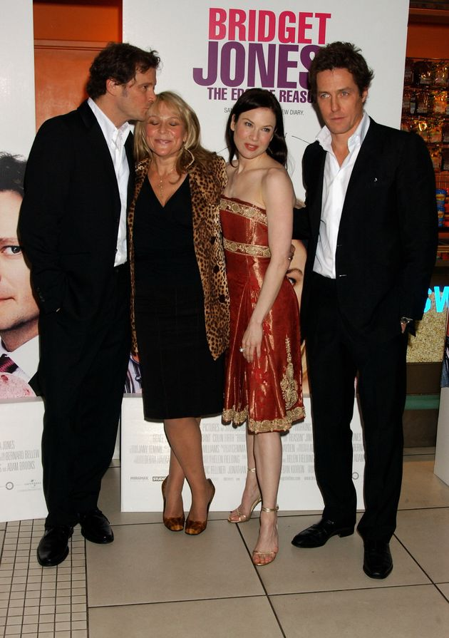 Colin Firth, writer Helen Fielding, actress Renee Zellweger and actor Hugh Grant arrive at the UK Gala Premiere of Bridget Jones: The Edge Of Reason in November 2004 in London