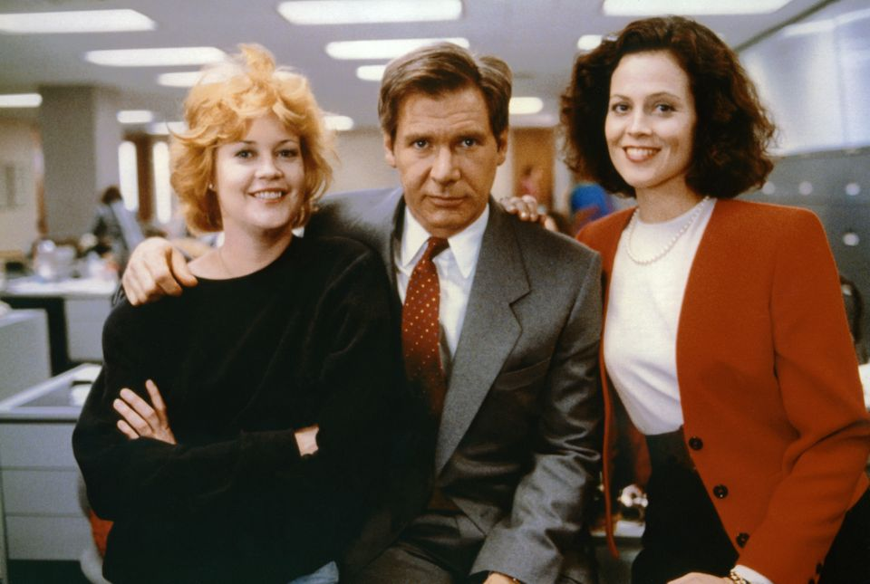Melanie Griffith, Harrison Ford and Sigourney Weaver on the set of Working Girl in