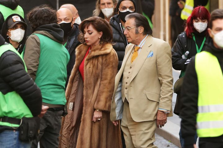 "Lady Gaga and Al Pacino on the ""House of Gucci"" set in Italy."
