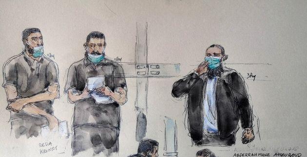 Dessin de presse fait le 8 mars lors du procès de Reda Kriket (à gauche), Abderrahmane Ameuroud (à