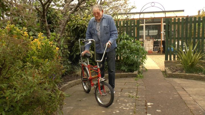 Tom with the Raleigh Chopper bike he designed