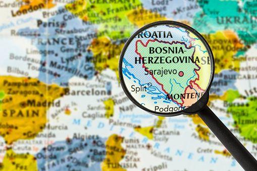 map of Bosnia and Herzegovina through magnifying