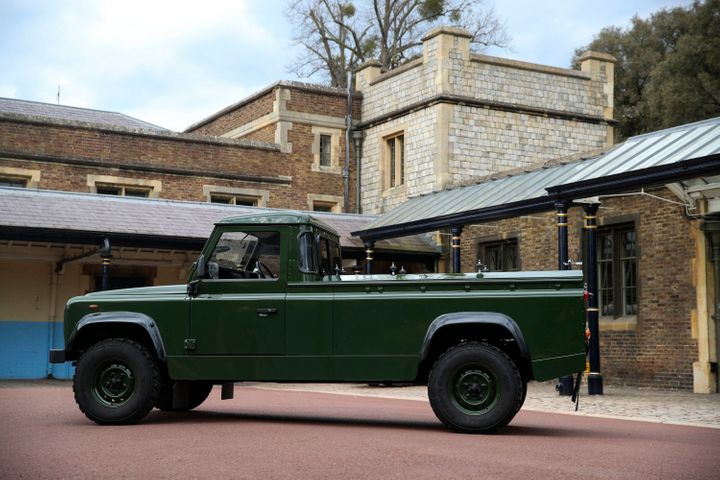 WINDSOR, ENGLAND - APRIL 15: The Jaguar Land Rover that will be used to transport the coffin of Prince Philip, Duke of Edinbu