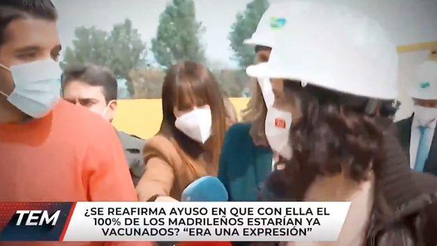 Un reportero de 'TEM' pregunta a Díaz Ayuso en un