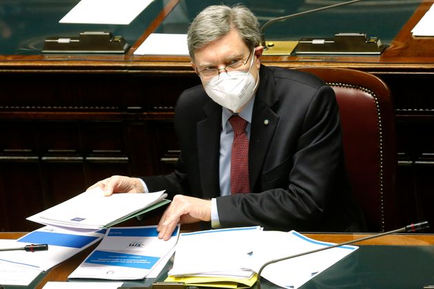The Minister of Transport Enrico Giovannini at the Chamber of Deputies during the discussion and vote...