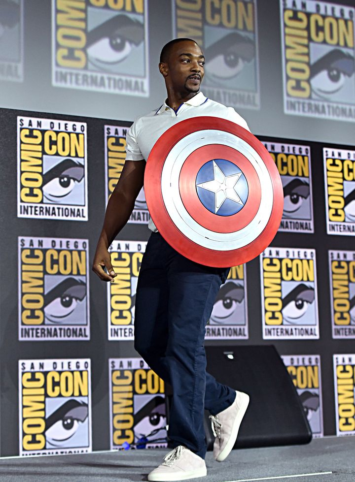 Anthony Mackie, who plays Falcon, carries Captain America's shield at the San Diego Comic-Con International 2019 Marvel Studi