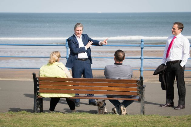 Labour Party leader Keir Starmer meets local people in Seaton Carew in County Durham during a day of campaigning for the Hartlepool by-election with the party's candidate, Paul Williams.
