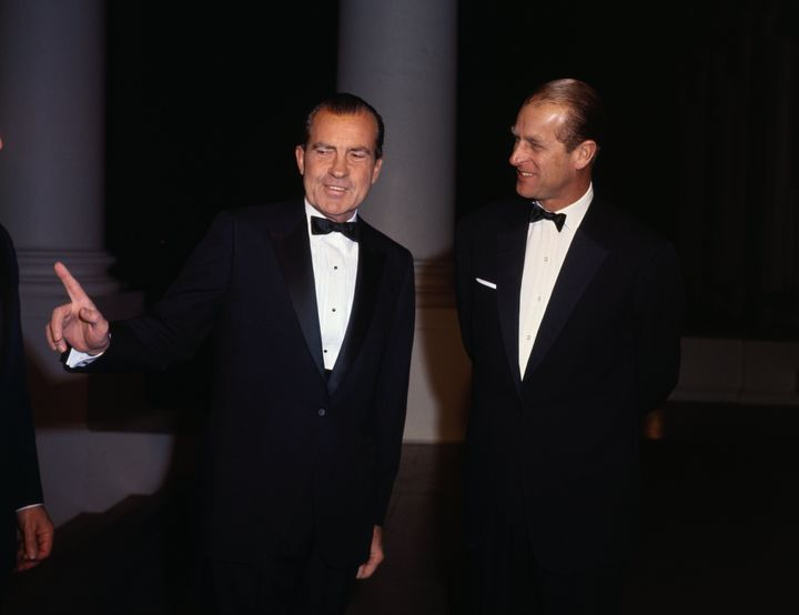 Prince Philip talks with President Nixon during a White House visit.