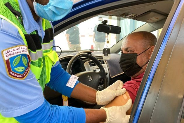 Mondial-2022: le Qatar veut vacciner contre le Covid-19 tous les visiteurs (photo du 31 mars 2021 à al-Wakrah,...