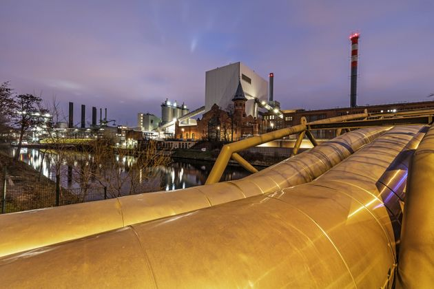 Power station (Berlin Moabit district) with large pipes for