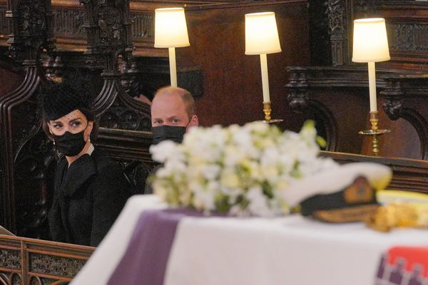Prince William and Kate Middleton pictured at St. George's Chapel during the service.