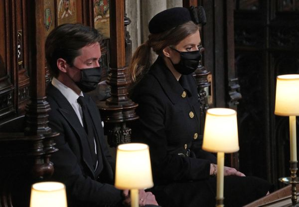 Princess Beatrice of York (right) and her husband, Edoardo Mapelli Mozzi, at St George's Chapel.
